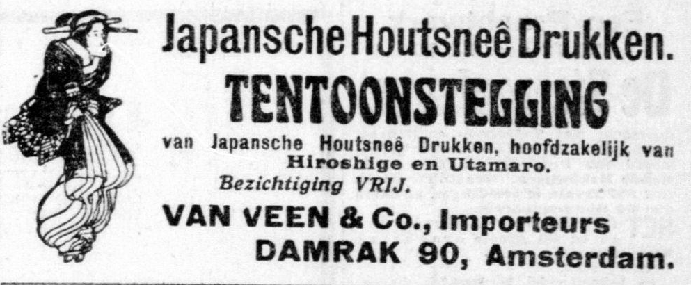 Ad in Telegraaf, February 14, 1910 by Van Veen Artspace for Japanese Woodcuts.