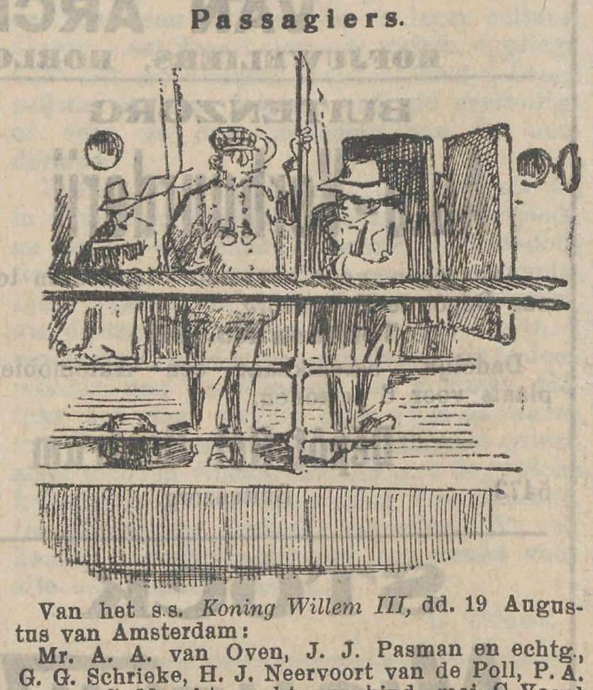 Het nieuws van den dag, 14-09-1911, listing brother H.J. Neervoort van de Poll as leaving Amsterdam for Indonesia on board the s.s. Koning Willem III.