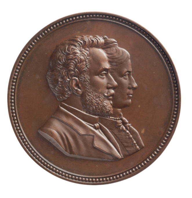 Marriage Neervoort van de Poll and Zubli, 1887. Medal in the Teylersmuseum. By Johan Philip Menger (1818-1895).